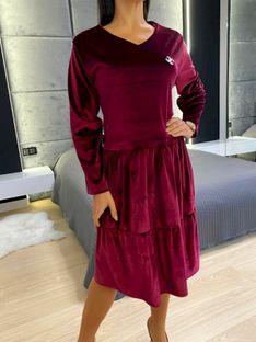 Bordowa Welurowa Sukienka z Falbanką 5345-51A-C