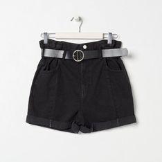 Sinsay - Jeansowe szorty paperbag z paskiem - Czarny