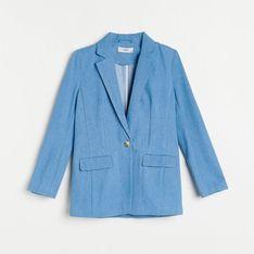 Reserved - Marynarka z bawełny organicznej - Niebieski