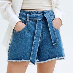 Reserved - Jeansowe szorty z wiązaniem - Niebieski
