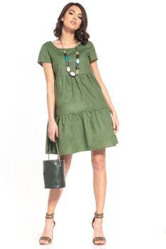 Bawełniana Mini Sukienka z Owalnym Dekoltem - Zielona