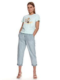 Pudełkowy damski t-shirt z nadrukiem