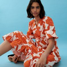 Reserved - Wzorzysta sukienka - Pomarańczowy