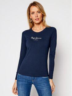 Pepe Jeans Bluzka New Virginia PL502755 Granatowy Slim Fit