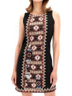 Czarna sukienka z ozdobnym przodem Desigual ERIKA