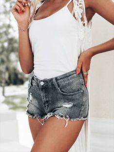 Krótkie spodenki damskie jeansowe 012WLR - szare