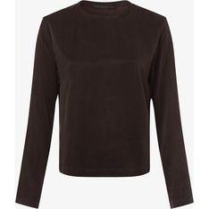Bluzka damska brązowa Drykorn gładka z długimi rękawami