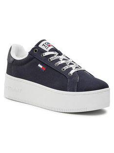 Tommy Jeans Sneakersy Iconic Essential Flatform EN0EN01358 Granatowy