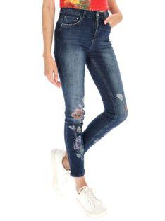 Jeansy z kwiatowym nadrukiem Desigual SHANNON