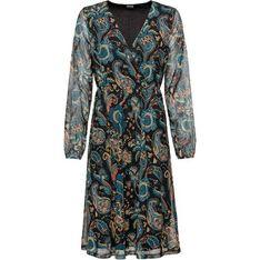 Sukienka Bonprix wielokolorowa midi z długim rękawem trapezowa w abstrakcyjne wzory