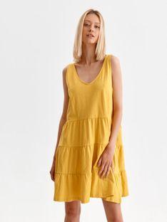 Krótka sukienka na ramiączkach z falbaną