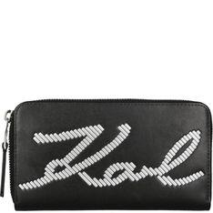 Karl Lagerfeld Portfel Signature Special   z dodatkiem skóry