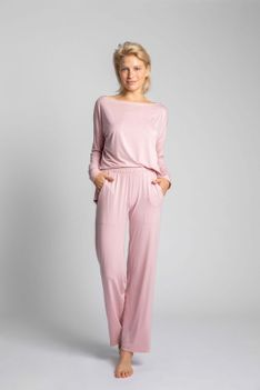 Wiskozowe Spodnie od Piżamy z Szerokimi Nogawkami -Różowe