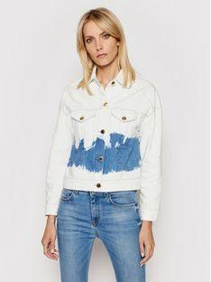 Trussardi Kurtka jeansowa Blitch Tye-Dye 56S00632 Biały Cropped Fit