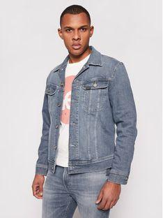 Lee Kurtka jeansowa Rider L89RNKUQ Granatowy Slim Fit