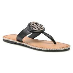 Japonki TOMMY HILFIGER - Essential Leather Flat Sandal Black BDS