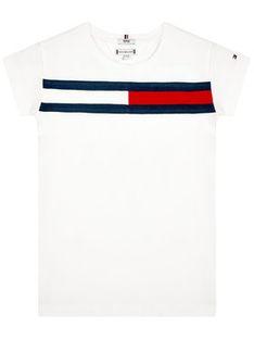 Tommy Hilfiger Sukienka codzienna Flag Jersey KG0KG05159 M Biały Regular Fit