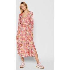Sukienka Ice Play różowa w serek z długim rękawem w kwiaty