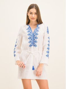 Tory Burch Sukienka plażowa Embroidered Linen Dress 54804 Biały Regular Fit