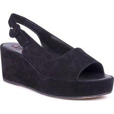 Högl sandały damskie na koturnie z klamrą bez wzorów eleganckie