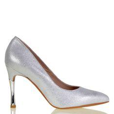 Lizard shoes - Srebrne skórzane szpilki w cekiny na