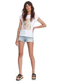 T-shirt damski z błyszczącym nadrukiem