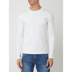 T-shirt męski biały Guess z długim rękawem casualowy