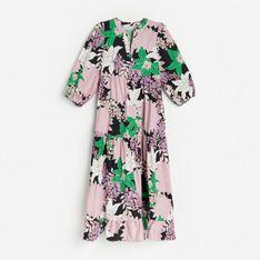 Reserved - Bawełniana sukienka w kwiaty - Czarny