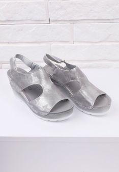 Sandały ciemno srebrne na koturnie 3 Munoz