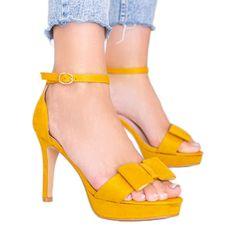 Musztardowe sandały na szpilce Devi żółte