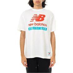T-shirt męski New Balance młodzieżowy z napisami z krótkimi rękawami