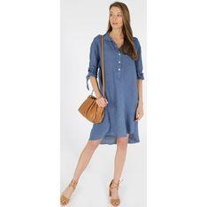 Sukienka Unisono z długimi rękawami mini jeansowa