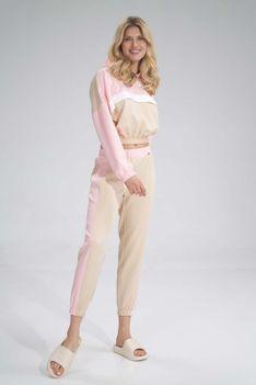 Sportowe Spodnie z Kolorowym Lampasem - Beżowo-Różowe