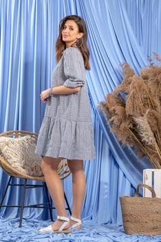 Bawełniana Luźna Sukienka w Granatową Krateczkę