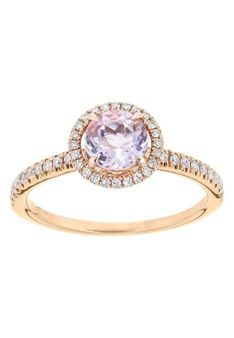Revoni - Pierścionek - 14K różowe złoto - 0,3 ct diament - ametyst - różowozłoty