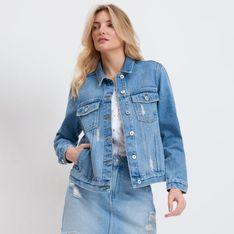 Mohito - Kurtka jeansowa z nadrukiem na plecach - Niebieski