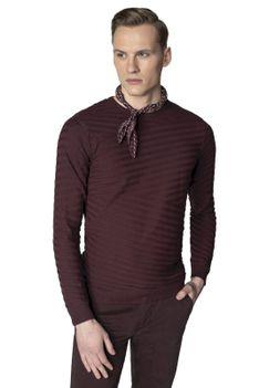 Sweter typu round-neck z strukturą Recman CROS PM BD