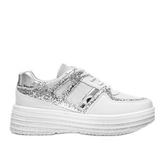 Białe brokatowe sneakersy na grubej podeszwie Laurel