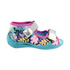 Befado obuwie dziecięce 242P098 niebieskie różowe srebrny wielokolorowe