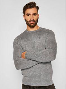 Polo Ralph Lauren Sweter Ls Sf Cn Pp 710714346005 Szary Slim Fit