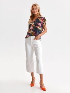 Bluzka damska z wiązaniem na rękawach w kolorowe kwiaty