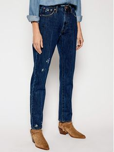 One Teaspoon Jeansy Straight Fit Awe Bag 23477 Granatowy Straight Fit