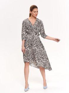 Elegancka sukienka kopertowa w zwierzęcy druk
