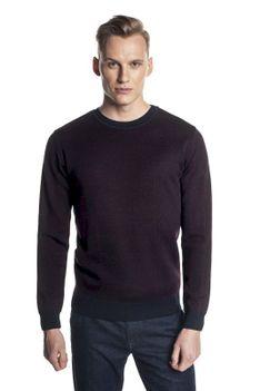 Sweter brązowy w kratę z wełną Recman GRILLONS