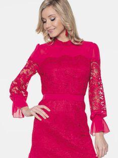 Koronkowa sukienka z falbanką L`AF LIV