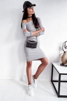 Komplet bluzka i spódnica prążkowany Zip Line szary