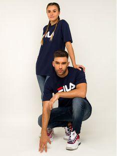 Fila T-Shirt Unisex 681093 Granatowy Regular Fit