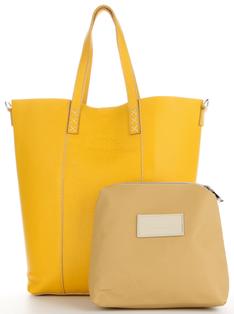 Vittoria Gotti Uniwersalne Torebki Skórzane do noszenia na co dzień Firmowy Włoski Shopper XL z Kosmetyczką Żółty (kolory)