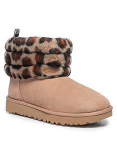 Ugg Buty W Fluff Mini Quilted Leopard 1105358 Beżowy