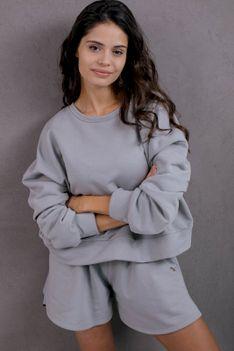 Dresowa Bluza ze Sznurowanym Ściągaczem - Szara
